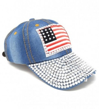 USA Washed Denim Baseball Hat- Rhinestone Studded American Flag Adjustable Cap - Light Wash - CU122K4AEZZ