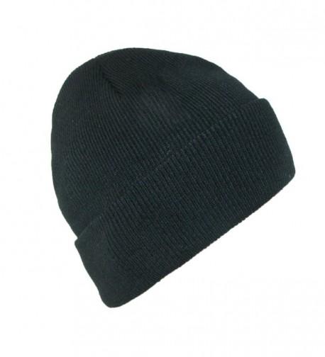 CTM Men's Winter Black Stocking Cuff Knit Cap (Pack Of 2) - Black - C8120DS6QIF