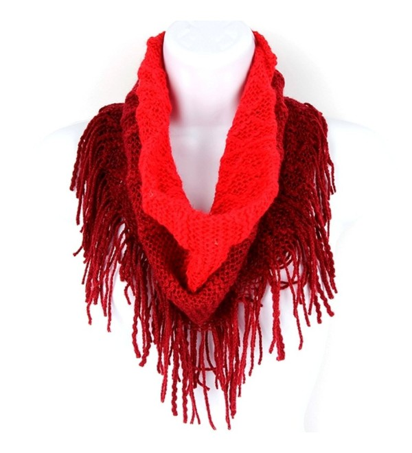Britt's Knits Women's Britt's Knits Acrylic Ombre Infinity Scarf With Fringe Accessory - Deep Red - CF188TCE994