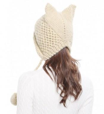 87c1c490e Winter Cute Cat Ears Knit Hat Ear Flap Crochet Beanie Hat Beige CX185RLQ0MA