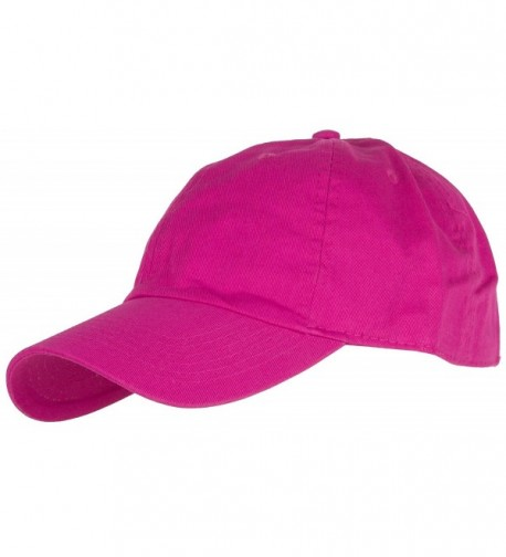DRY77 Plain Solid Color Cotton Baseball Cap - Hot Pink - CX12E7W56WP