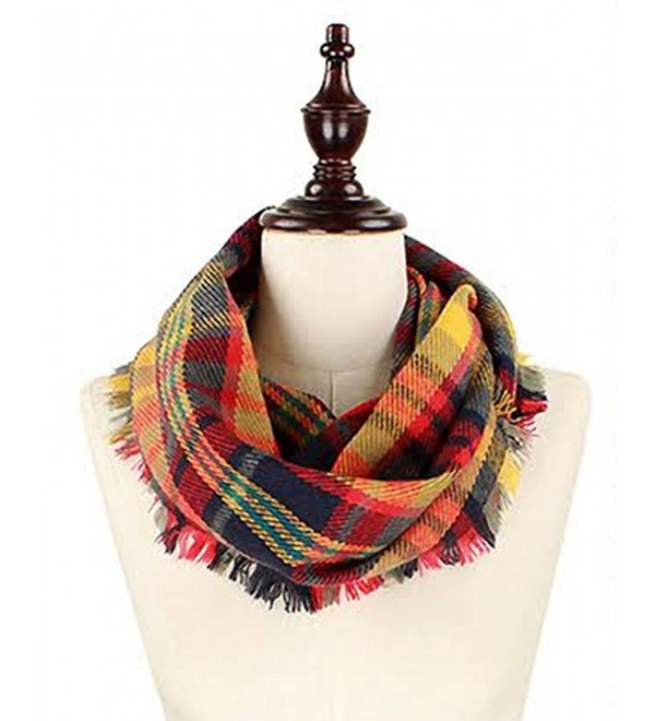 StylesILove Plaid Lovers Collection Womens Infinity Scarf Regular Scarf - Woven Plaid Navy-red - CC12N2TYMHR