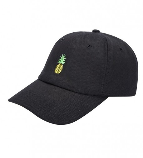 Pineapple Hat Baseball Cap Polo Style Unconstructed Hats - Black - C717XWDGHLL