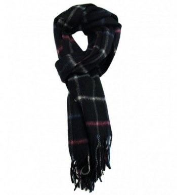 Modadorn Winter Sale Checkered Cashmere Feel Wool Fringe Scarf - Black - CD11D7FI2H5