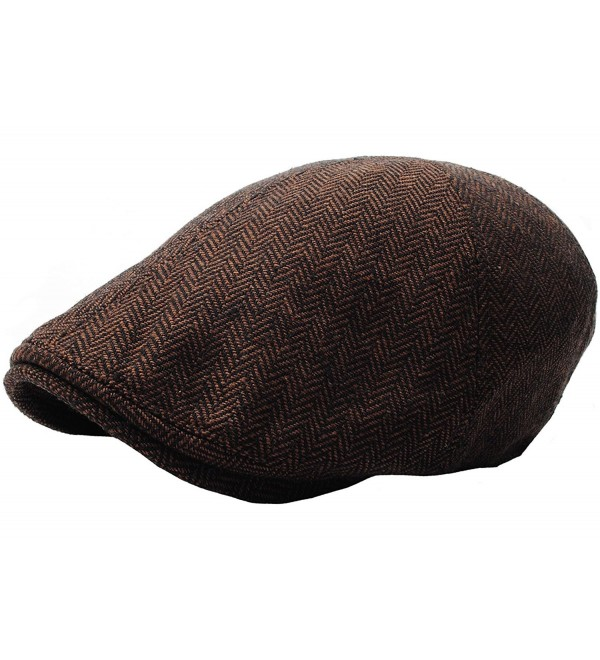 RaOn N04 Herringbone Soft Pattern Driving Wool IVY Cap Cabbie Ascot newsboy Beret Hat - Darkbrown - C91293QPAO3