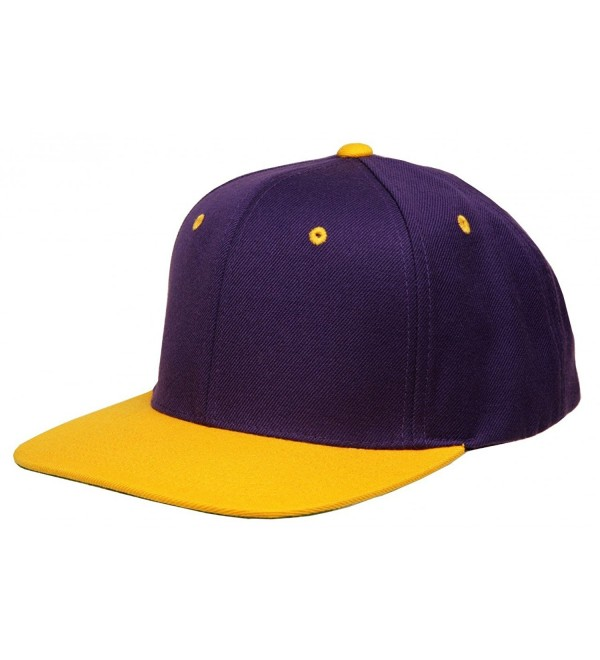 Original Yupoong Two-Tone Pro-Style Wool Blend Snapback Snap Back Blank Hat Baseball Cap 6098MT Purple / Gold - CZ1181RD1VL