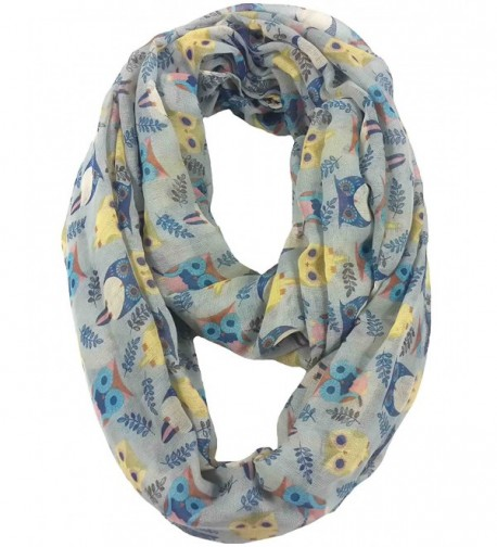 Lina & Lily Owl Print Infinity Loop Scarf for Women Lightweight - Light Grey - C711PVN0HL5