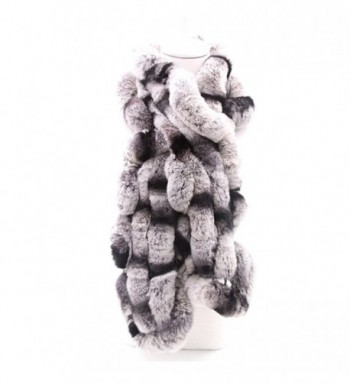 MMFur Natural Rex Rabbit Women Fur Knit Scarf Warm Long - White Gray - C812LUG34JX