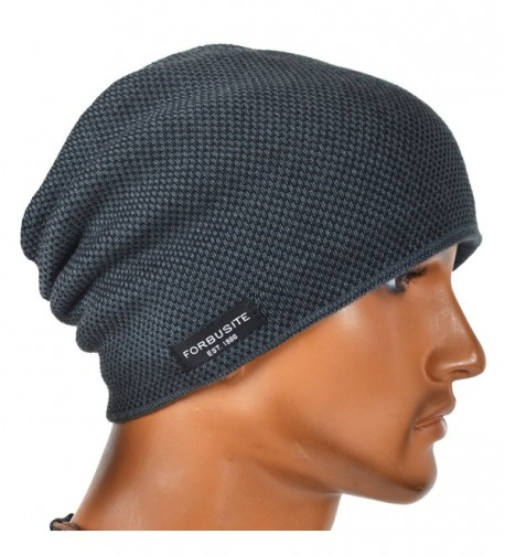 VECRY Mens Beanie Hat Fleece Lined Knit Hat Thick Skull Cap - Grey - CH187DGMGY0