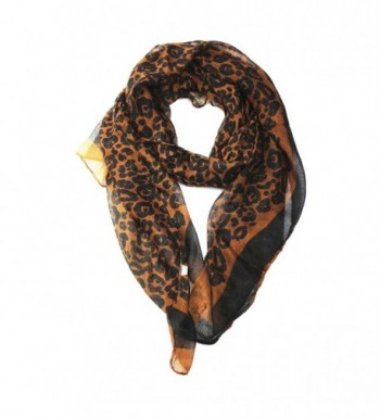 Paskmlna Women's Lightweight Scarves Rotation Flowers Printed Soft Large Scarf Wrap - 1017-brown - CG1803KG2G7