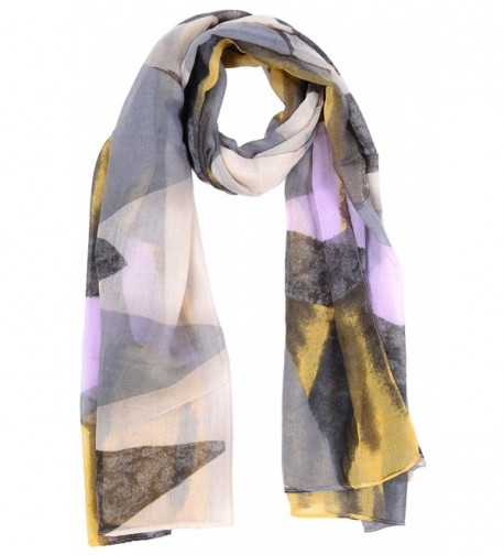 Salutto Womens Polyester Voile Scarf Geometry Pattern Soft Fashion Scarves Shawl Wrap - Yellow - C512KV0JBA9