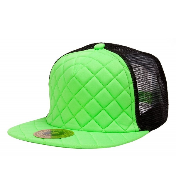 TopHeadwear Quilted Adjustable Trucker Hat - Black/Neon Green - CJ11NXBXUOX
