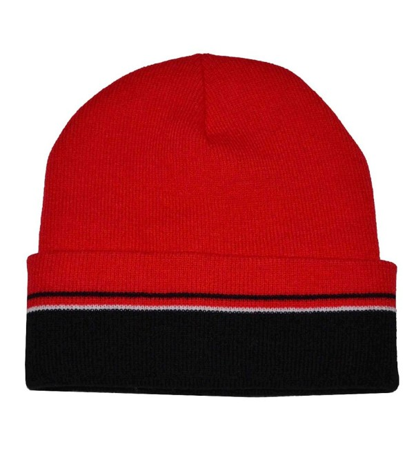 25c961f7abba93 The G Cap G Men's Winter Multi Stripe Cuffed Beanie Knit Hat - Black Red  White