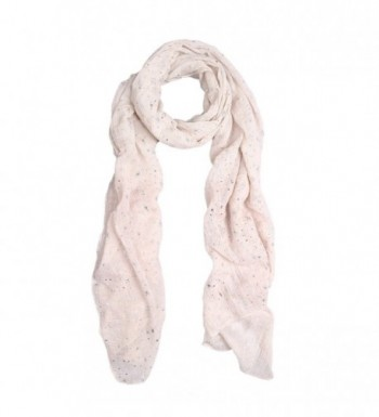 Solid Color Stars Print Stardust Glitter Scarf - Different Colors Available - Off White - CT11HJGJ14L