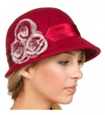 Sakkas Sadie Faux Fur Vintage Style Wool Cloche Bucket Bell Hat - Red - CA11HN6ZC7R