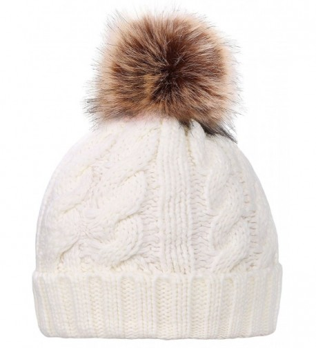 Simplicity Womens Winter Hand Knit Faux Fur Pompoms Beanie Hat - Single-white - C812BYRSB8R