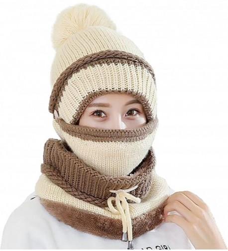 Ababalaya Women's Warm Fleece Pom Hat & Removable Windproof Mask & Neck Scarf Sets - Beige - C7188KA5CSD