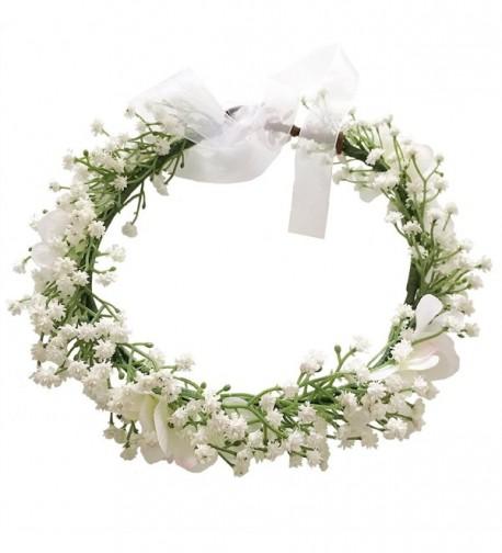 Cuteadorn Bridal Baby Breath Flower Crown Headband For Women & Girls Hair Wreath With Adjustable Ribbon - White - C1185LI2SXQ