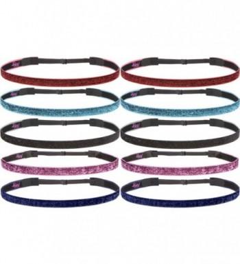 Hipsy Women's Glitter Adjustable Non-Slip Headband Mother Daughter 10pk (BFF Gift 10pk) - CN12O6UKEFW