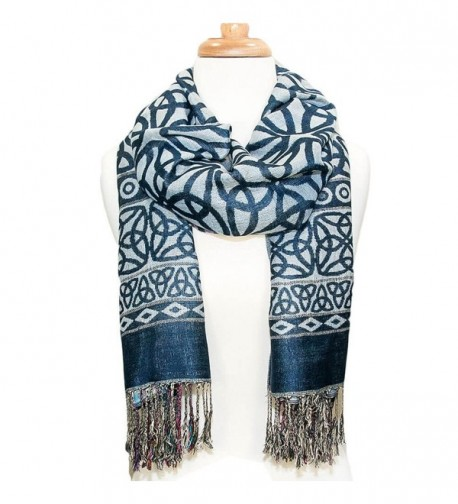 Elegant Celtic Knotwork Scarf- Iconic Celtic Knot design- Denim Blue - CU12G20EXSX
