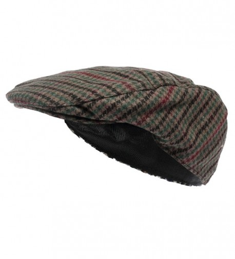 Octave Mens Wool Mix Tweed Country Style Flat Cap - Green Check - Green Check - CC11N1IZVJP