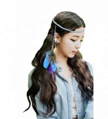 Fascigirl 1920s Flapper Gatsby headband Halloween Feather Headband for Women (Light Blue) - Light Blue - CN1296OQT7P