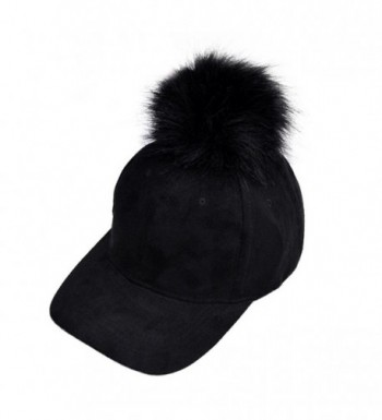 Lonsbo Women Winter Raccoon Fur Ball Cap Hip Hop Fashion Casual Baseball Hat - Black - C412NSAN2XR