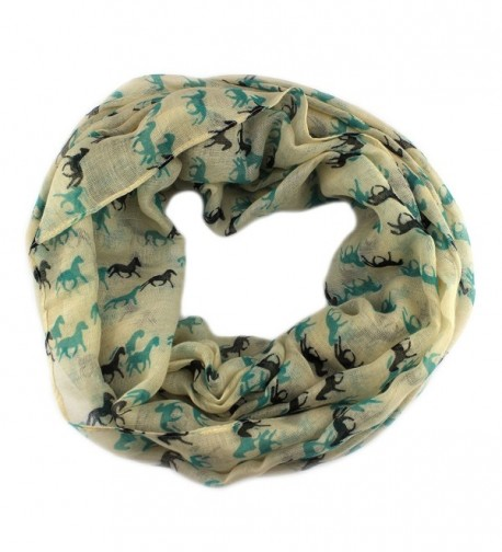PendantScarf Women's Fashion Animal Horse Print Loop Ring Infinity Scarf - Ivory - CQ128LQE9BH