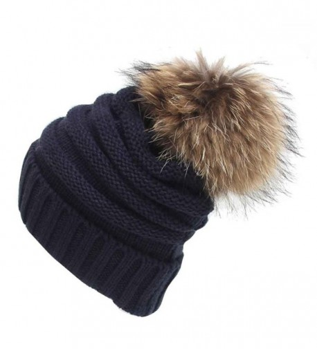 DDLBiz Women Girls Knitting Slouchy Hat Winter Warm Pom Pom Hat Beanie Cap - Navy - CQ12NERPMIX