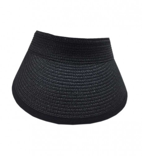 Aesthetinc 100% Straw Sun Visor Hat Velcro Adjustable at the Back - Black - CO124GCTMA7