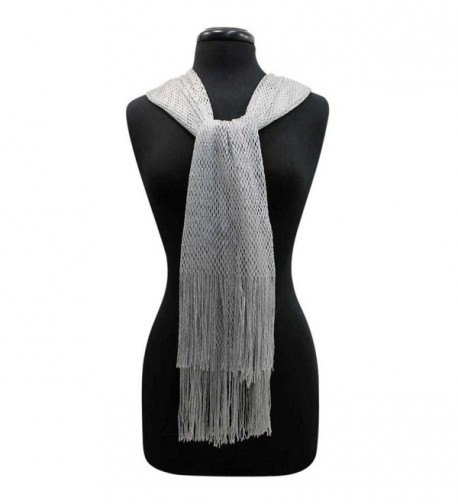 Silver Lightweight Mesh Metallic Scarf in Fashion Scarves
