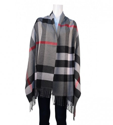UNISI Large Soft Silky Pashmina Twill Shawl Ladies Wrap Women Scarf in Solid Colors - Gray - CA185Y9WE22