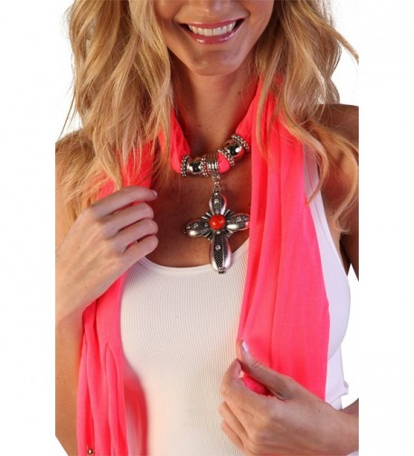 Women's Fashion Pendant Real Metal Cross Scarf - Pink - CJ11QH4XGTH