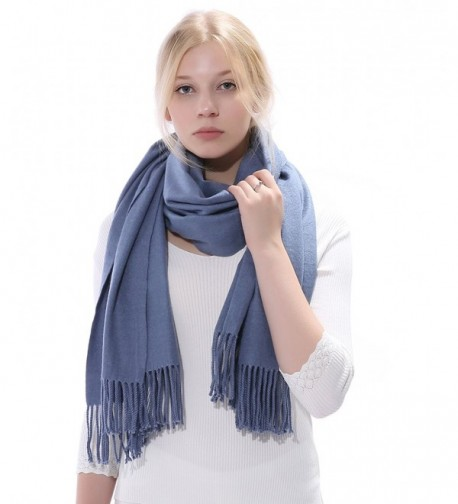 Anboor Women's Cashmere Feel Winter Thick Blanket Stole Scarf with Tassel Solid Color Large Warm Shawl - Blue - C11866WR20C