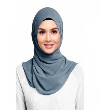 Hana's Womens Georgette Chiffon Hijab - Stonewash - C6182OLKCXO