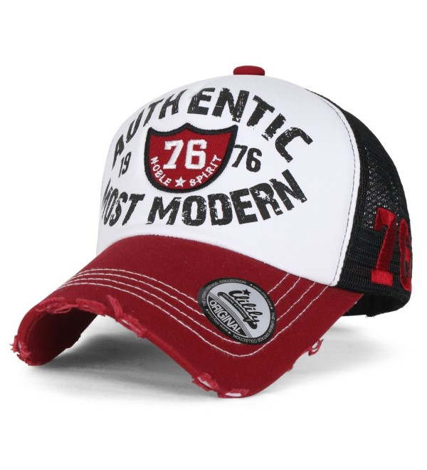 4f762c45b03ee8 ililily Authentic Most Modern Vintage Distressed Mesh Trucker Hat Baseball  Cap - Red - CP17YCSH49W