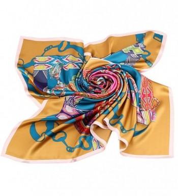MYSTRYL FASHION100%Silk Women's Large Square Scarves - Gold - CV17XMRTGOA