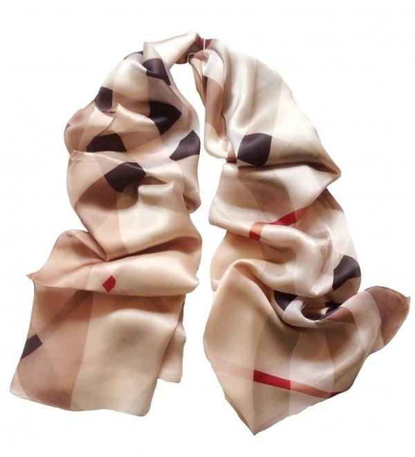 JIMINCI Womens Fashion Scarf 100% Silk Plaid Scarf - Light Brown - CS12JQ7XR6D