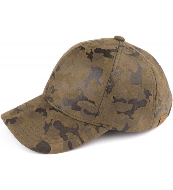 Funky Junque's Women's Camouflage Stitch Baseball Cap Hat - Camo Faux Suede Print - CQ17YESRN77
