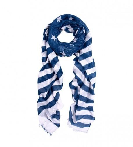 Navy Blue Stars & Stripes Vintage USA American Flag Style Scarf - C111G4XNUL5