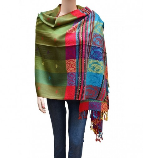 Flyingeagle Trade Women Rainbow Colorful Silky Pashmina Shawl Scarf Wrap - Olive/Green - CX183R9U6DU