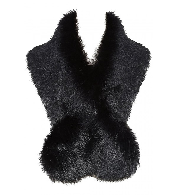 "BABEYOND Womens Faux Fur Collar Shawl Faux Fur Scarf Wrap Evening Cape for Winter Coat 47.2"" - Black - C7187Q7XIAD"