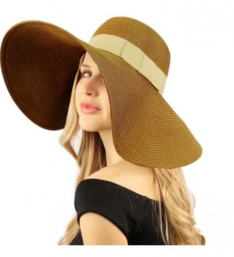 "50+ UPF Ribbon Beach Summer Braid Xtra Wide 5-3/4"" Brim Floppy Sun Hat Cap - Brown - CC118JMH33P"
