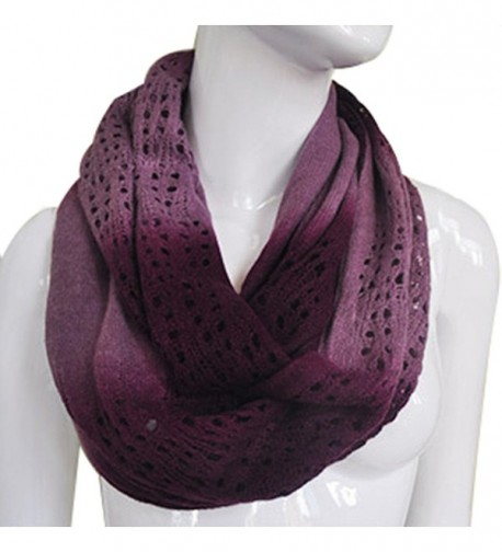 JET-BOND Light Infinity Scarf Hollow Blooming Contrast Color FP03 Knitted Women Winter - Dark Purple - CU187EXEOQT