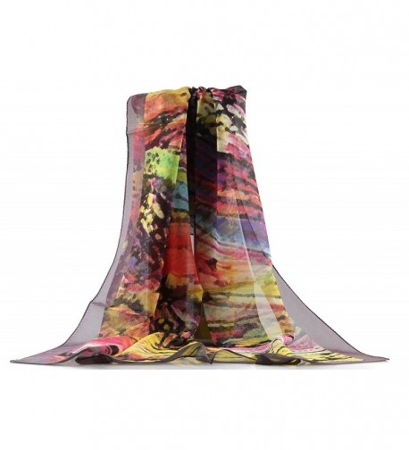Jocelyn Nord Fashionable Silk Big Square Scarf 100% Mulberry Silk - Colorful Ink - CH18647Q972
