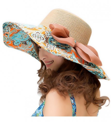 Beach Hats for Women Floppy-Wide Brim Foldable Straw Sun Hat - Khaki - CK12EJV9GF7