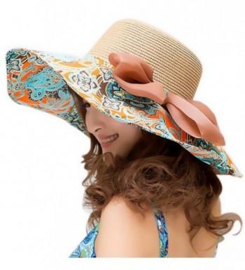 Beach Hats for Women Floppy-Wide Brim Foldable Straw Sun Hat - Khaki - CK12EJV9GF7