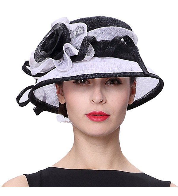 bcfa2081ce5dc4 June's Young Women Hats Summer Hat Beautiful Ribbons 2 Tone Colors - White/ Black -