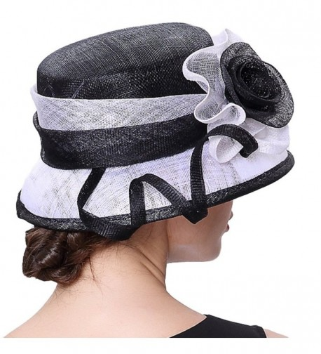 48fa6fe75cdc2a ... Hat Beautiful Ribbons 2 Tone Colors - White/Black -. Junes Young Summer  Beautiful Ribbons. Junes Young Summer Beautiful Ribbons in Women's Sun Hats
