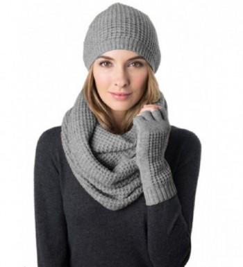 Celeste Women's Wool Cashmere Blend 3 Piece Set- Hat- Infinity Scarf & Glove - Heather Grey - C312DUHTQRT